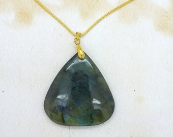 Labradorite Gemstone Pendant On Gold Plated Snake Chain Necklace OOAK