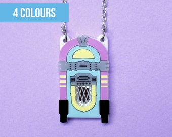 Jukebox necklace or brooch | Music lover gift | Music necklace | Vintage jukebox necklace | Pastel jukebox | Kitsch jukebox necklace | Music