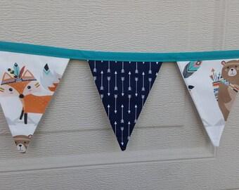 Woodland Tribal Theme Bunting - Mini Fabric Flags - Banner