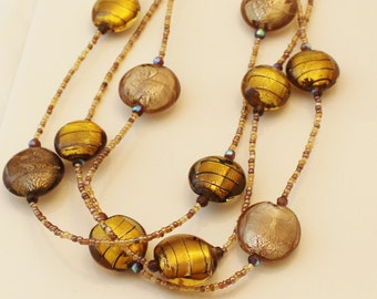 Glass Beaded Necklace, Brown glass, beaded necklace, adjustable necklace - NK023
