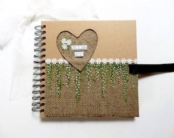 Rustic Wedding Guest Book, Wedding Scrapbook Album, Personalised Wedding Keepsake, Handmade Wedding Memory Book, Wedding Gift, Photo Book.