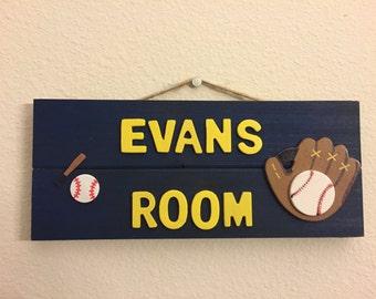 Custom boys name room sign with baseball and glove