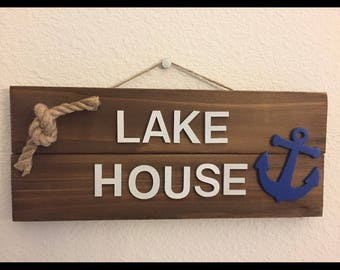 Lake house, beach house hanging wood sign