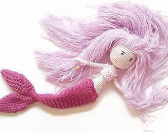 Mermaid doll, Crochet mermaid doll, Ragdoll, Baby girl mermaid, Mermaid nursery decor, Mermaid bedroom decor, Girl birthday gift