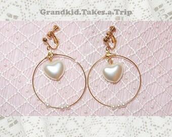 Minimal Pearly Heart in Hoop Clip-on Earrings