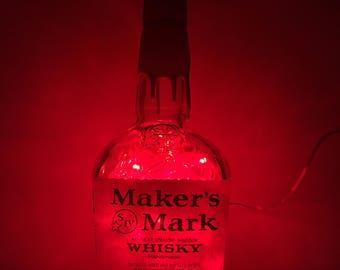 Lighted Maker's Mark Bottle with Red LED Lights