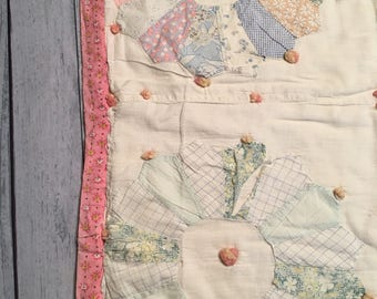 Pink, Blue and Green Dresden Quilt Layer