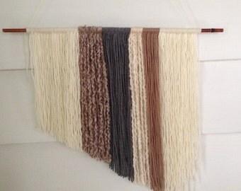 Yarn Wall Hanging, Bohemian Wall Hanging,  Boho Decor, Boho  Decor, Earth Tones, Beige, Cream, Grey, SouthWestern, Photo Prop, Mid Century,