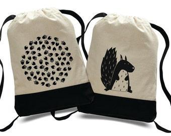 "Drawstring backpack with ""Nuts"" screen printing, toys bag, diaper bag, sport bag"
