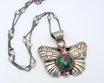 Medallion Necklace, Australian Opal Mozaic, Butterfly