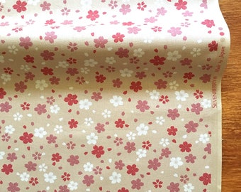 Sakura Fabric in Beige /Cherry Blossom Cotton/Kawaii/Kimono Fabric/1/2Yard