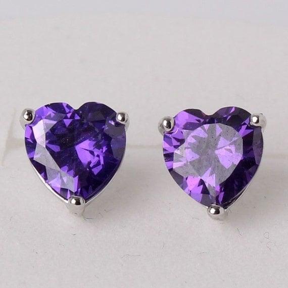 Lovely 18 ct white gold filled purple sapphire crystal heart stud earrings