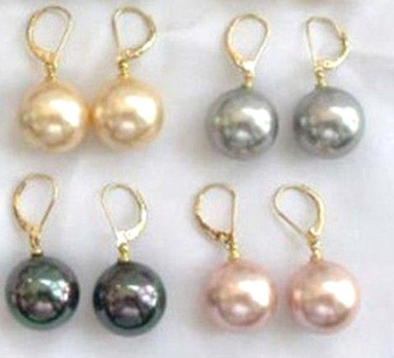 4 pairs of Beautiful  10mm high lustre seashell pearl earrings 18ct goldplated leverback fittings