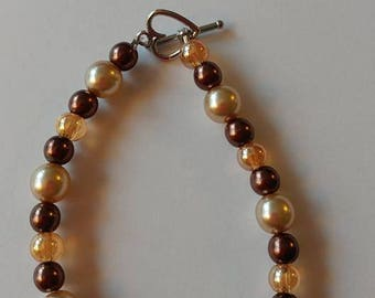 Brown and Pearl Bracelet with Heart Clasp