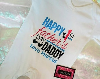 Glitter Baby Onesie - Happy 1st Fathers Day Daddy Love....