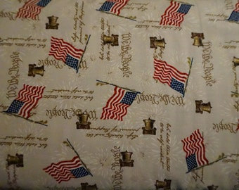 Americana: Flags Tossed Motif (Beige background); sold by the yard