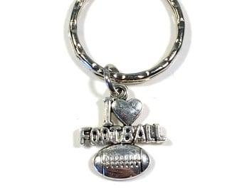SALE  I Love Football KeyChain, Foot Ball Key chain, Gift for Player Dad Mom Coach  Athlete Keyring Present Key Ring Charm Varsity Team  117