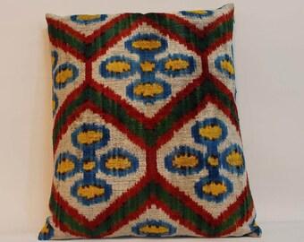 İkat Velvet Pillow Cover, 16'' x 19'' , Decorative Pillow, Handmade Silk Pillow, İkat Lumbar Pillow,  Shipping with Fedex 1-3 days