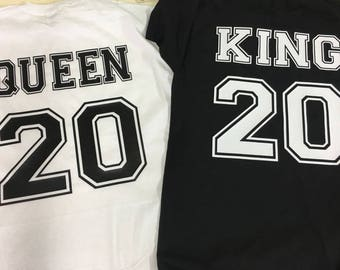 "Tees  personalized ""king and queen"" tees for couples pack. Choose your number and color!"