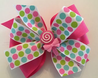 Lollipop Hair Bow Hot Pink Polka Dot Bow Pink Lollipop Bow Hot Pink, Turquoise, Lime Green Polka Dot Bow with Lollipop Center