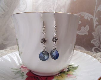 Dark Blue Cut Glass Earrings with Silver Tone Metal and Glass Pearl Accents; Dangle Earrings;