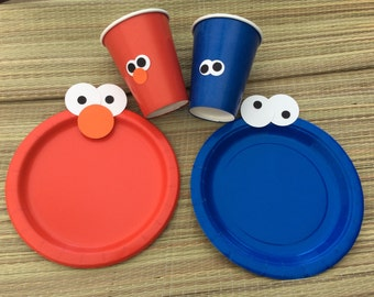 Elmo Birthday Party set/party plates and cups/party plates/Elmo plates/Elmo 1st birthday party decorations/Sesame street birthday 72 set