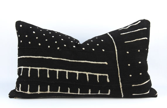 Black Mudcloth Lumbar Pillow Black and White African Mud