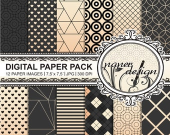 """""""digital paper pack GOLD"""" Instant Download black 7.5-inch x 7.5-inch #3 geometry"""