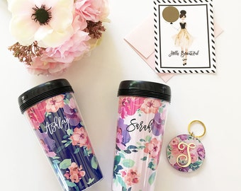 Personalized Floral Coffee Tumblers - Bridesmaids Personalized Gifts - Bridal Party Gifts, Birthday Gifts