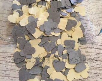 Heart Confetti, Yellow Grey Paper Confetti, Baby Shower Decor, Party Confetti, Confetti Hearts, Table Scatter, Baby Sprinkle, heart die cut