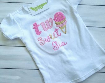 Two Sweet Birthday Shirt - Ice Cream Birthday Shirt - 2nd Birthday Shirt - Second Birthday Shirt - Girls Birthday Shirt - Custom Birthday