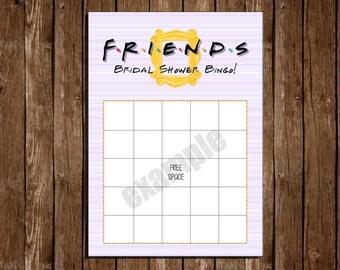 Printable FRIENDS Bridal Shower BINGO/ 5x7 cards