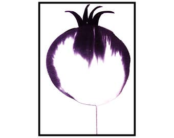 Ink drawing abstract pomegranate art A3 black and white modern artwork home decoration