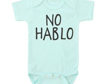 No Hablo  | Mint BodySuit with Black Matte