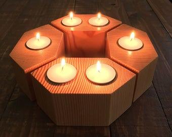 Candle Holder Set of 4, Tea Light Candle Holder, Tea Candle, Tea Light Candle, Rustic Candle Holder, Wood Tea Light Holder, Candle Holder