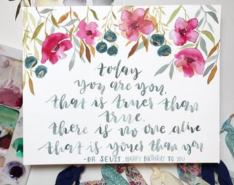 "Original, hand-painted ""today you are you"" quote 8x10"