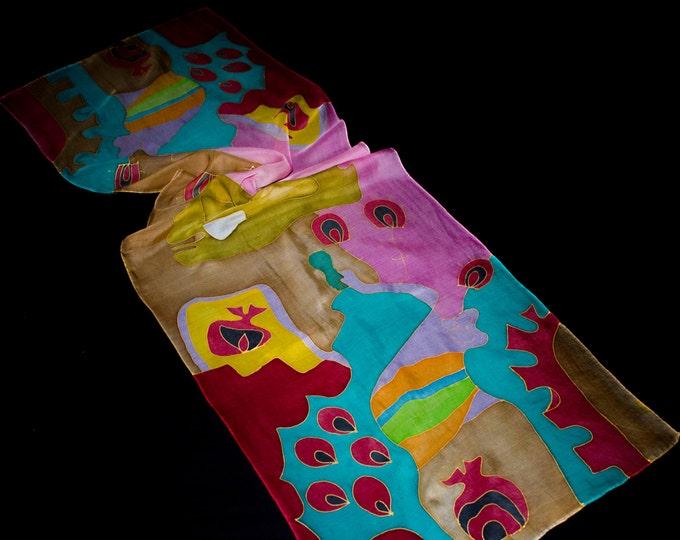 Hand Painted Silk Scarf - Batik Gift for Her - Armenian Handmade - Armenia
