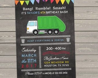 garbage truck birthday invitation for boys or girls, trash bash invites, birthday party invitations digital or printed