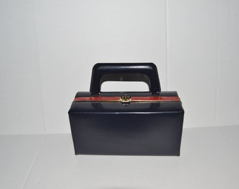 Navy & Red Box Purse ~ Vintage Handbag