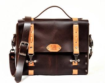 Leather satchel, leather handbag, laptop bag, ipad bag. Handmade in the USA