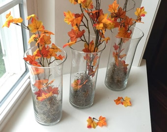 Set of 6 Floral Fall Wedding Centerpieces/ Decorations/ Bridal Shower Centerpieces/o