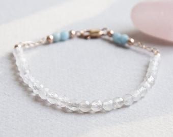 Delicate Rose Quartz & Aquamarine Gemstone Bracelet w 14K Rose Gold, Minimal Healing Jewelry 4mm Pink Blue Semi Precious Crystal Stone Beads