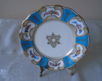 stunning hand gilded tea plate blue and gold