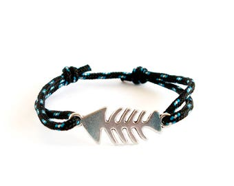 Fishbone Bracelet Jewelry, Fishbone Cuff Bracelet, Mens Fishbone Braid Bracelet