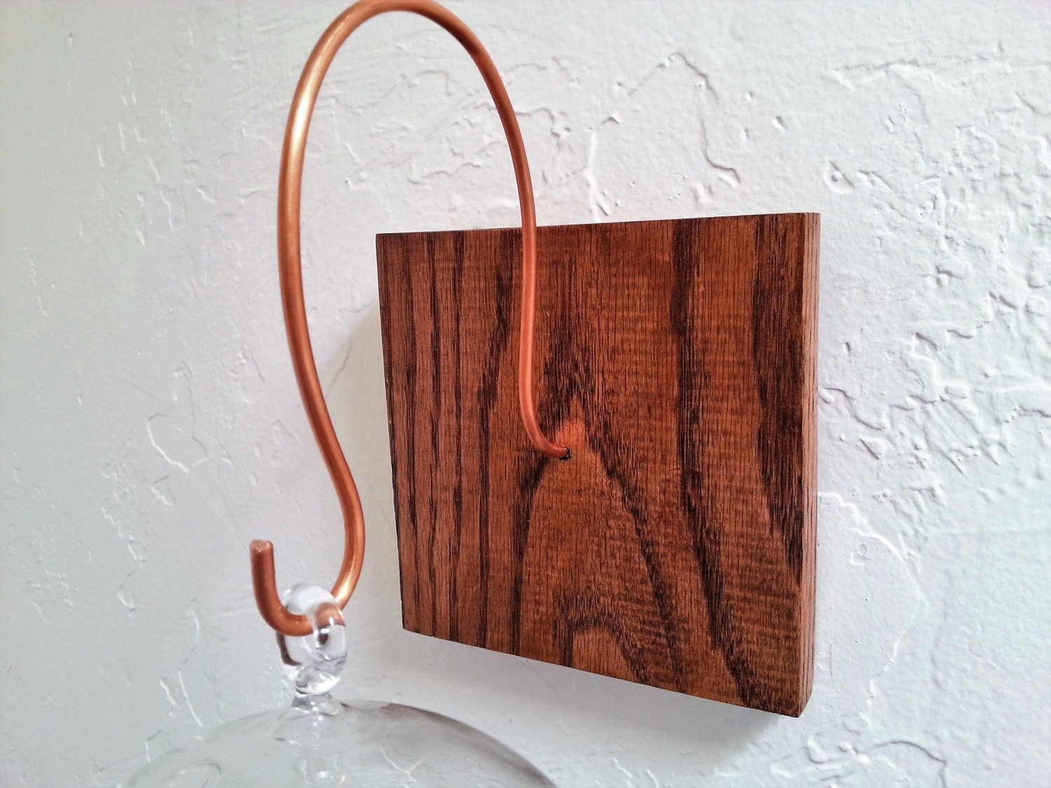Wall mount for hanging terrarium handmade wood and copper for Air plant holder ideas