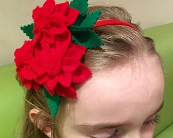 Red Poinsettia Flower Headband, Girls Flower Alice Band, Girls Party Bag Filler Stuffer, Girls Birthday Gift, Party Hair Accessories