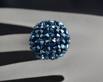 Swarovski crystal ball ring metallic blue 2x