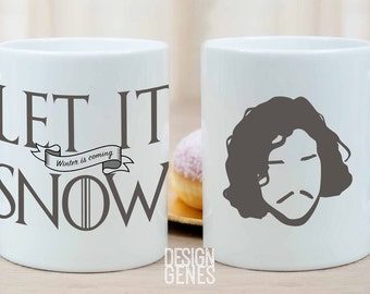 Let It Snow Winter is Coming mug, Jon Snow, Game of Thrones mug, ASOIAF quote mug, GOT fans gift, game of thrones gift, you know nothing jon
