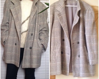 Vintage wool, alpaca and mohair jacket coat, gray Plaid oversize boyfriend (XL - 42/44)