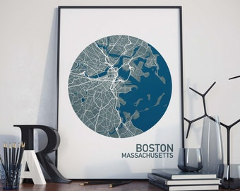 Boston, Massachusetts City Map Print